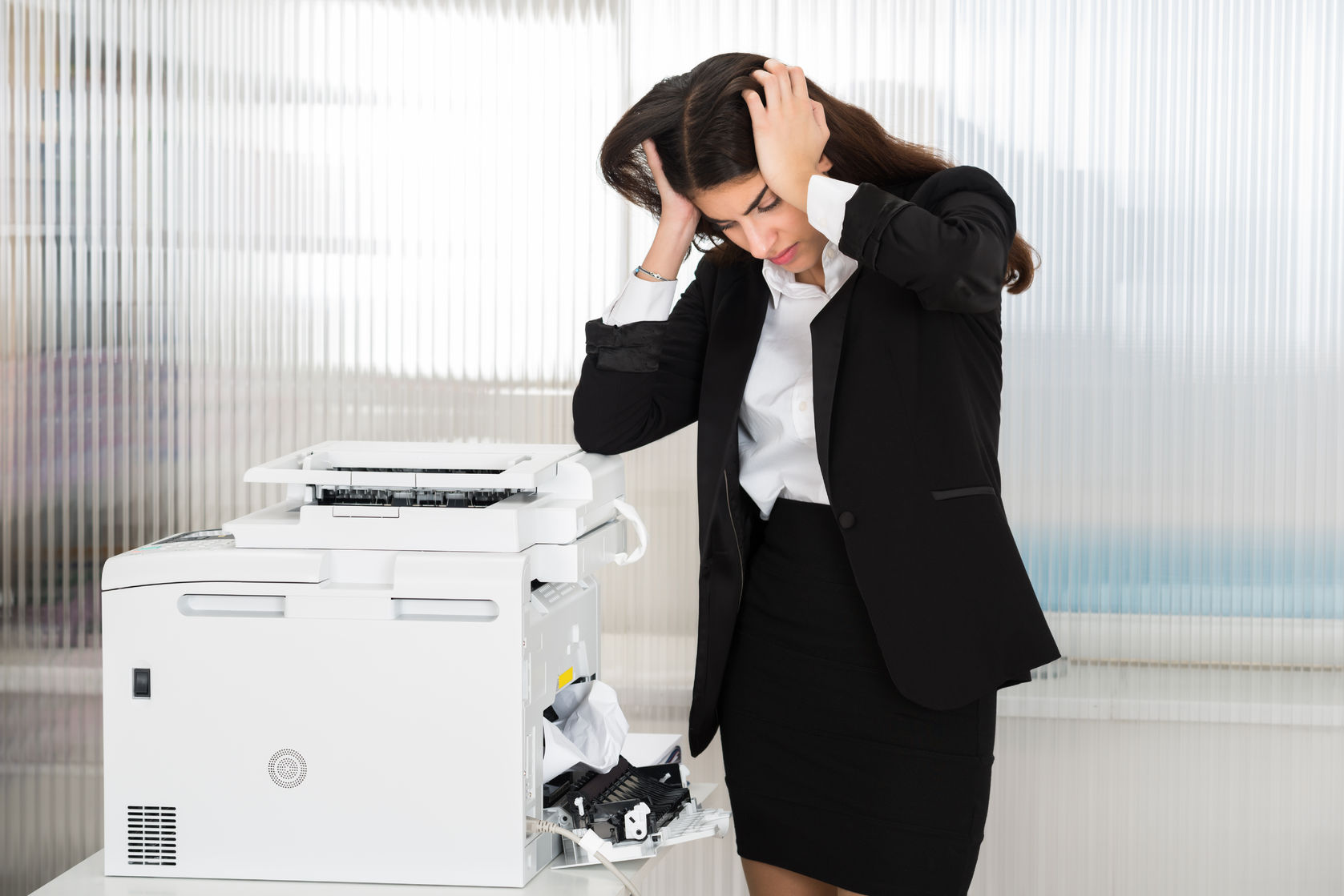 Broken Laser Printer Woman with paper jam