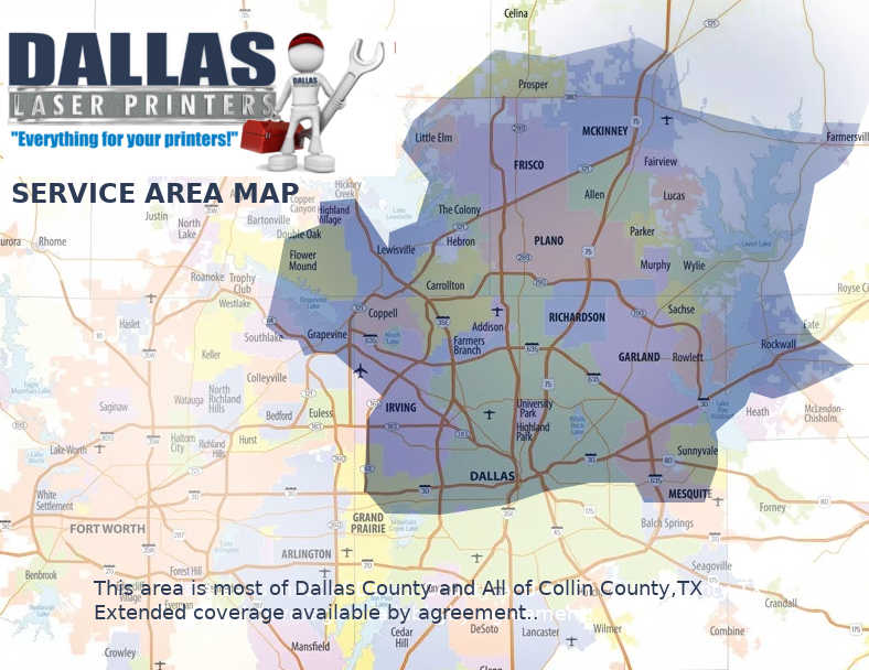 Dallas Laser Printers Service Area Map